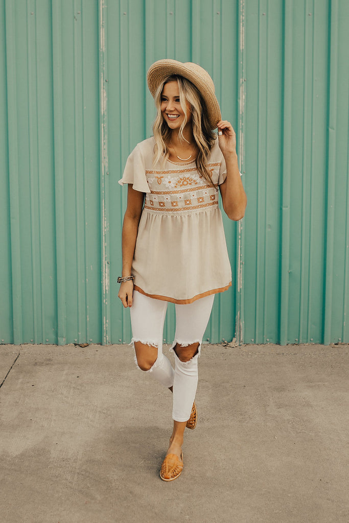 Alexandria Peplum in Cream