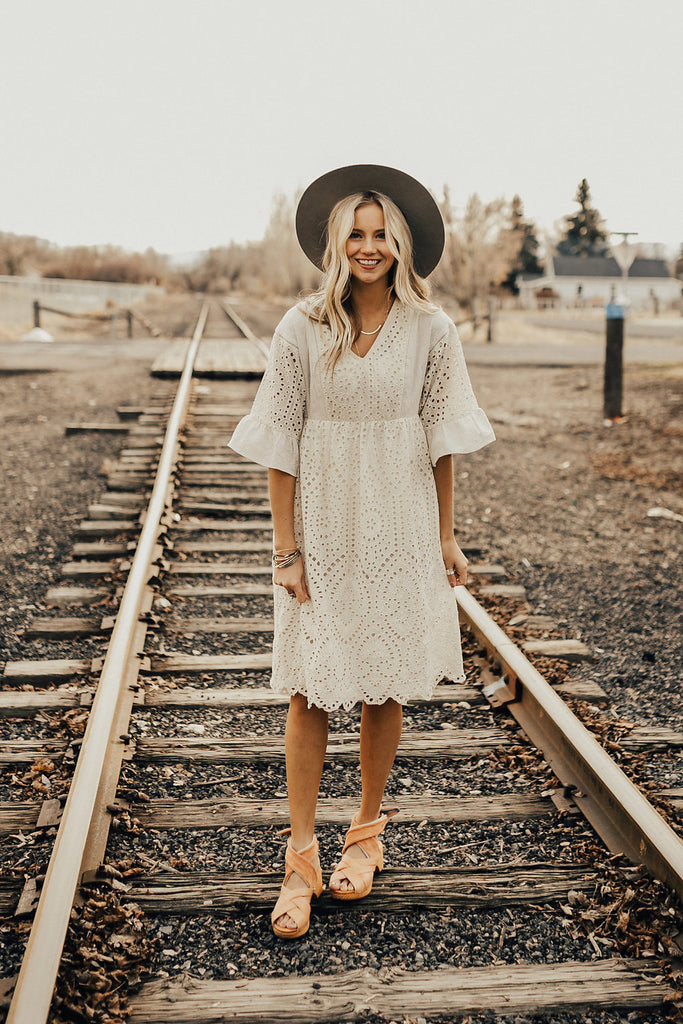 Falling For You Eyelet Dress in Crème