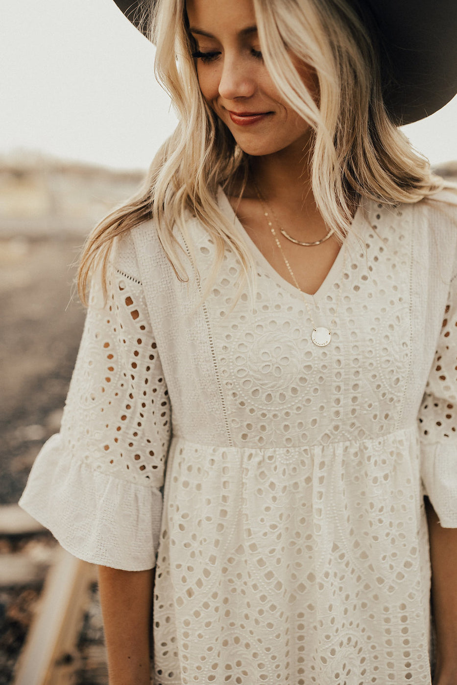 Falling For You Eyelet Dress in Crème | ROOLEE