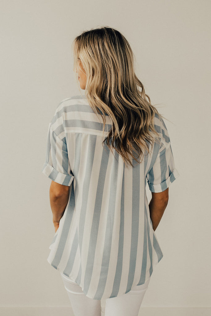 The Carnival Stripe Blouse in Blue