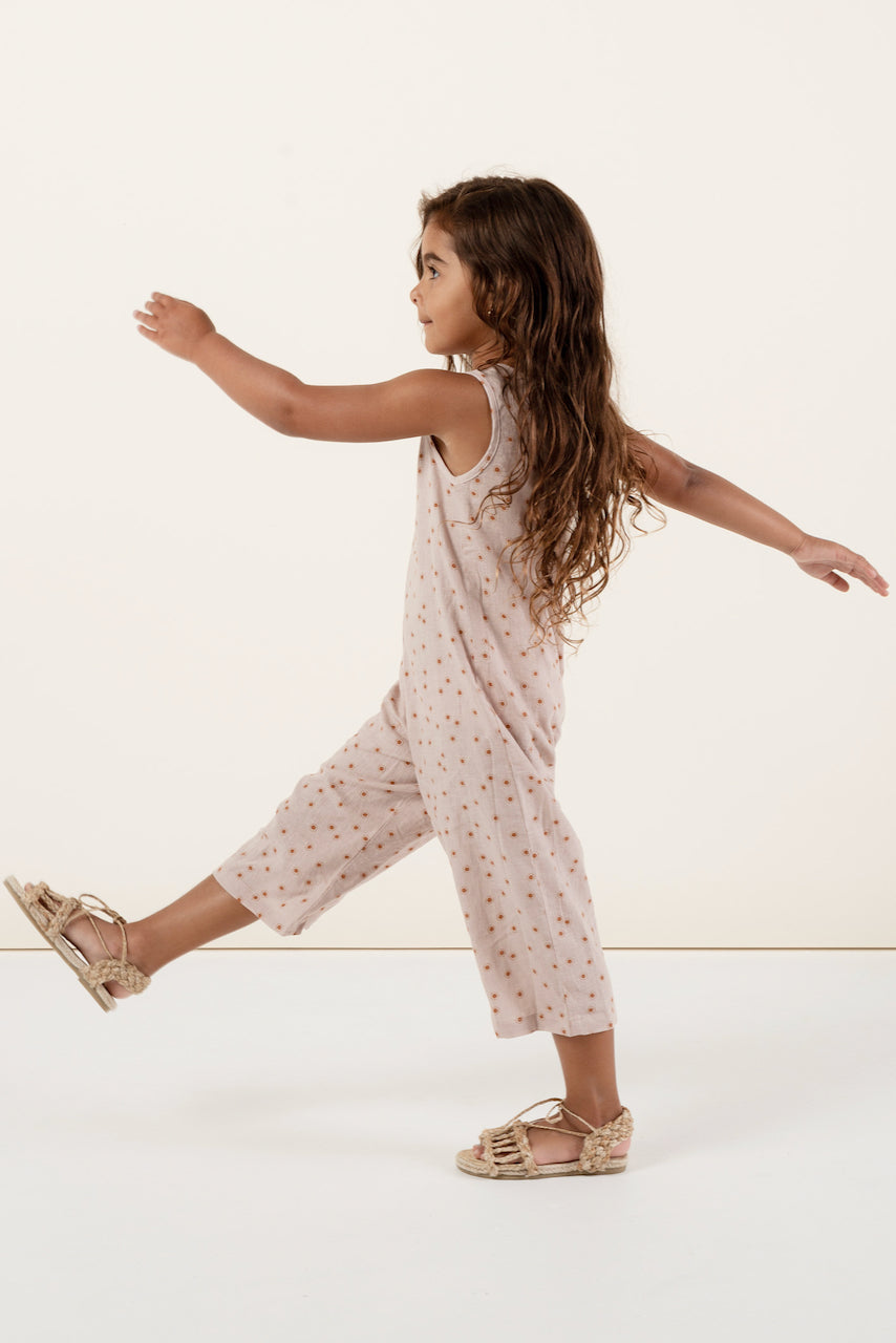 Light pink print jumpsuit for girls | ROOLEE