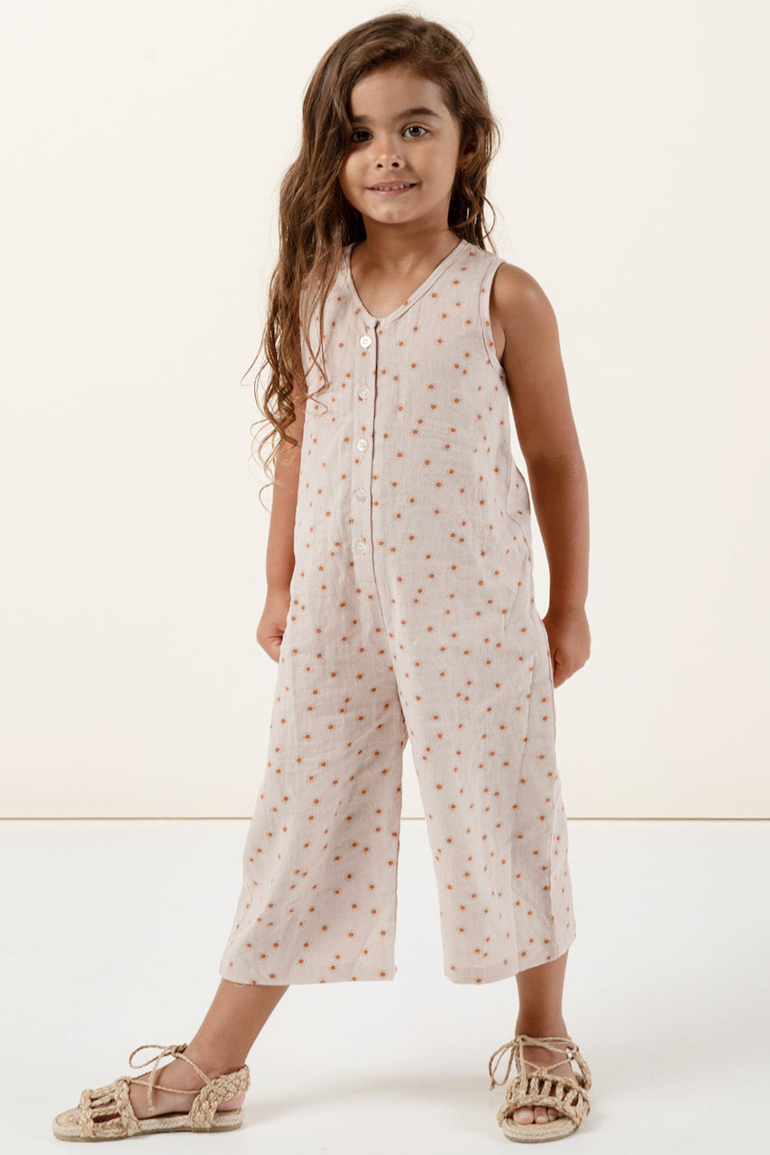 Button front sleeveless girls jumpsuit | ROOLEE