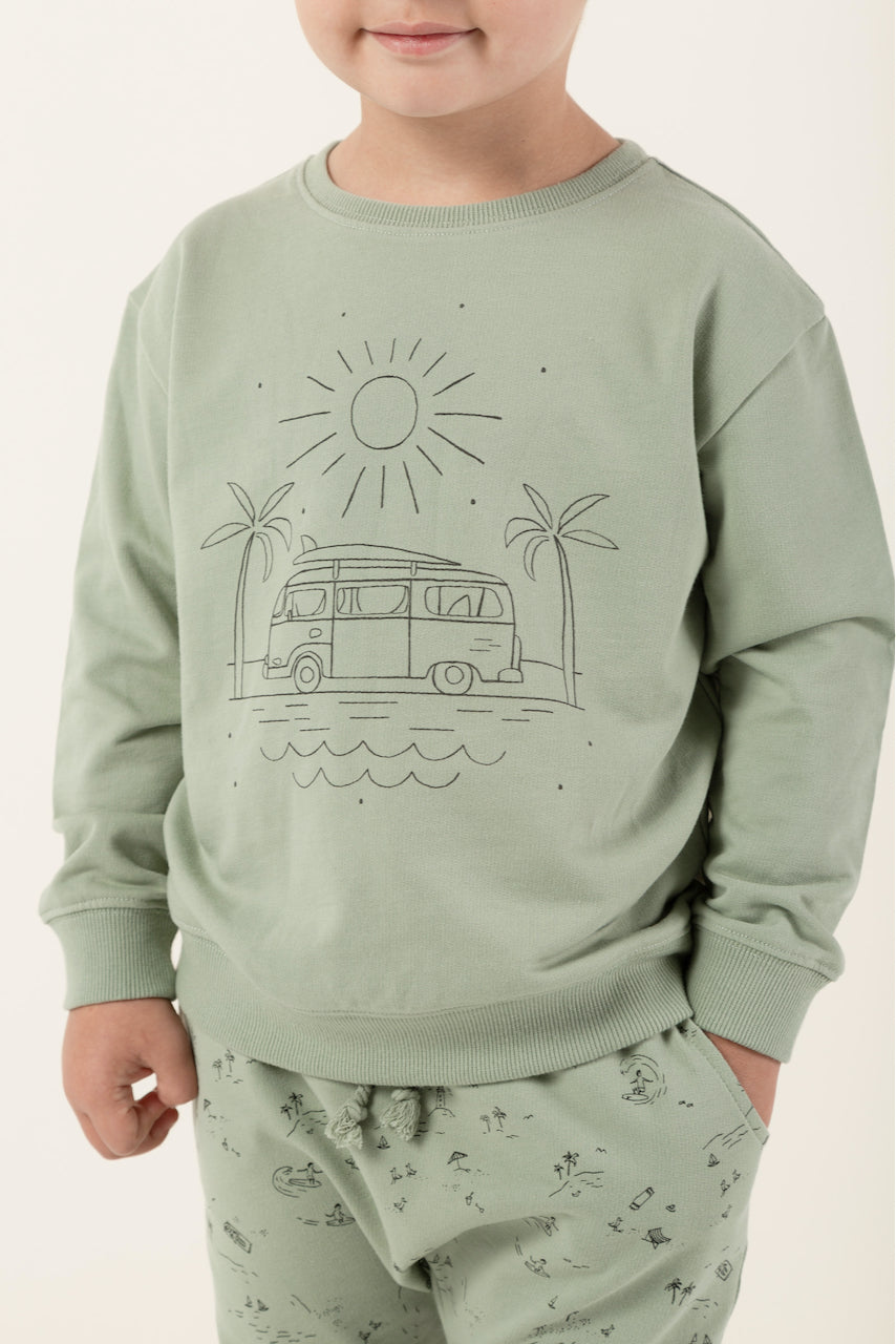 Mint green long sleeve kids pullover | ROOLEE