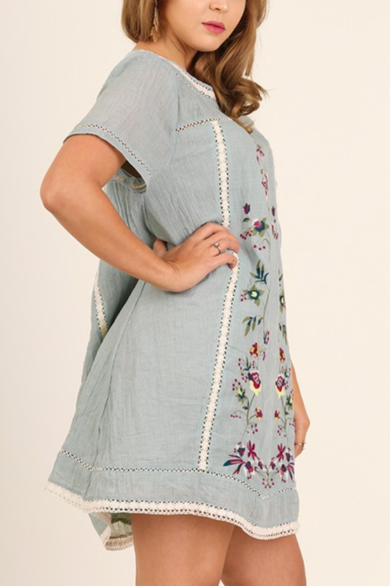 Rhea Embroidered Tunic in Vintage Blue