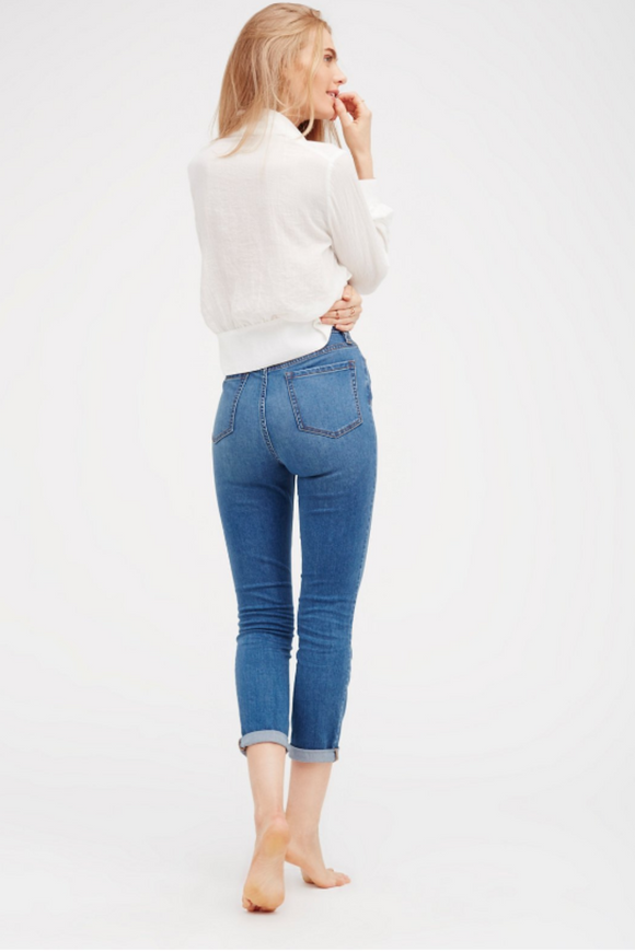 Free People High Rise Roller Skinny in Mountain Blue