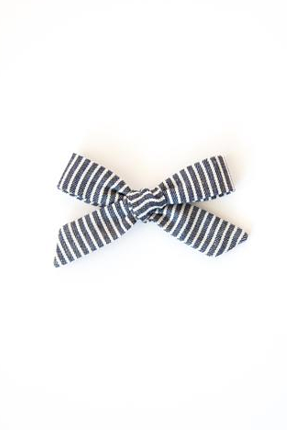 Striped Chambray Hand-Tied Baby Bow