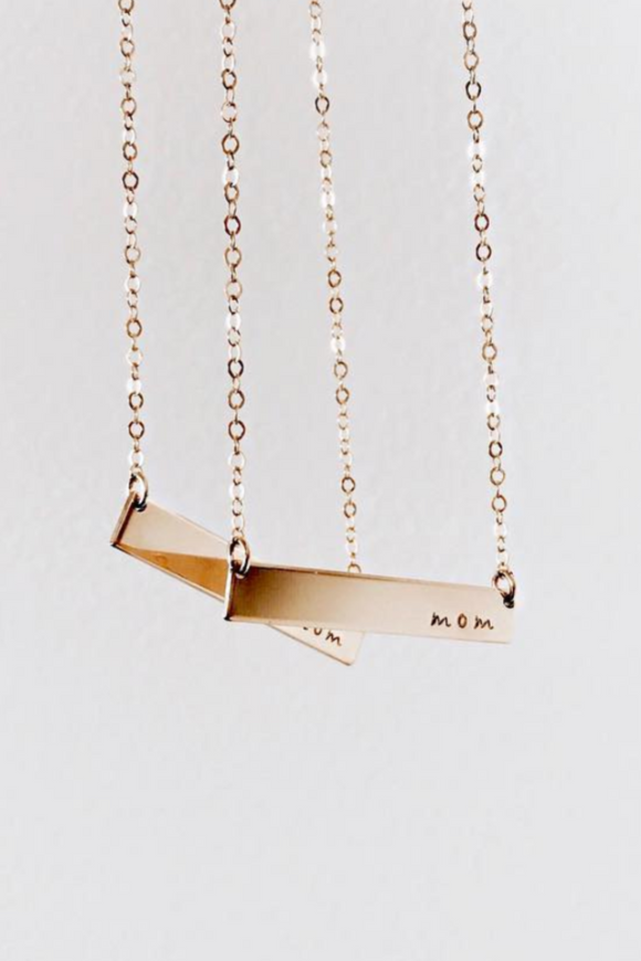 Gold Mom Bar Necklace