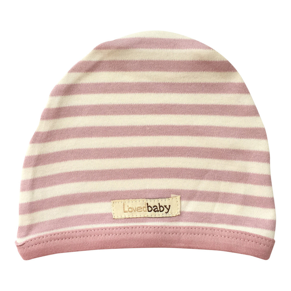 Striped Cute Cap in Mauve/Beige