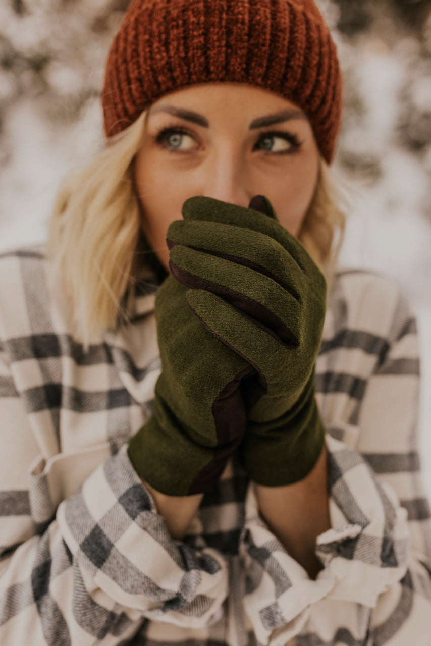 Olive Green Tech Cashmere Gloves | ROOLEE