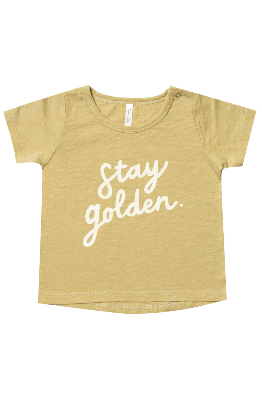 Yellow gold golden print girls t shirt | ROOLEE