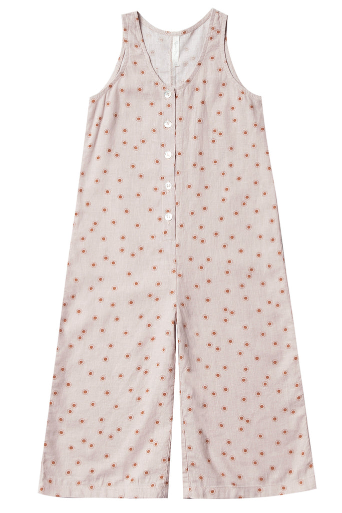 Light pink printed girls jumpsuit | ROOLEE