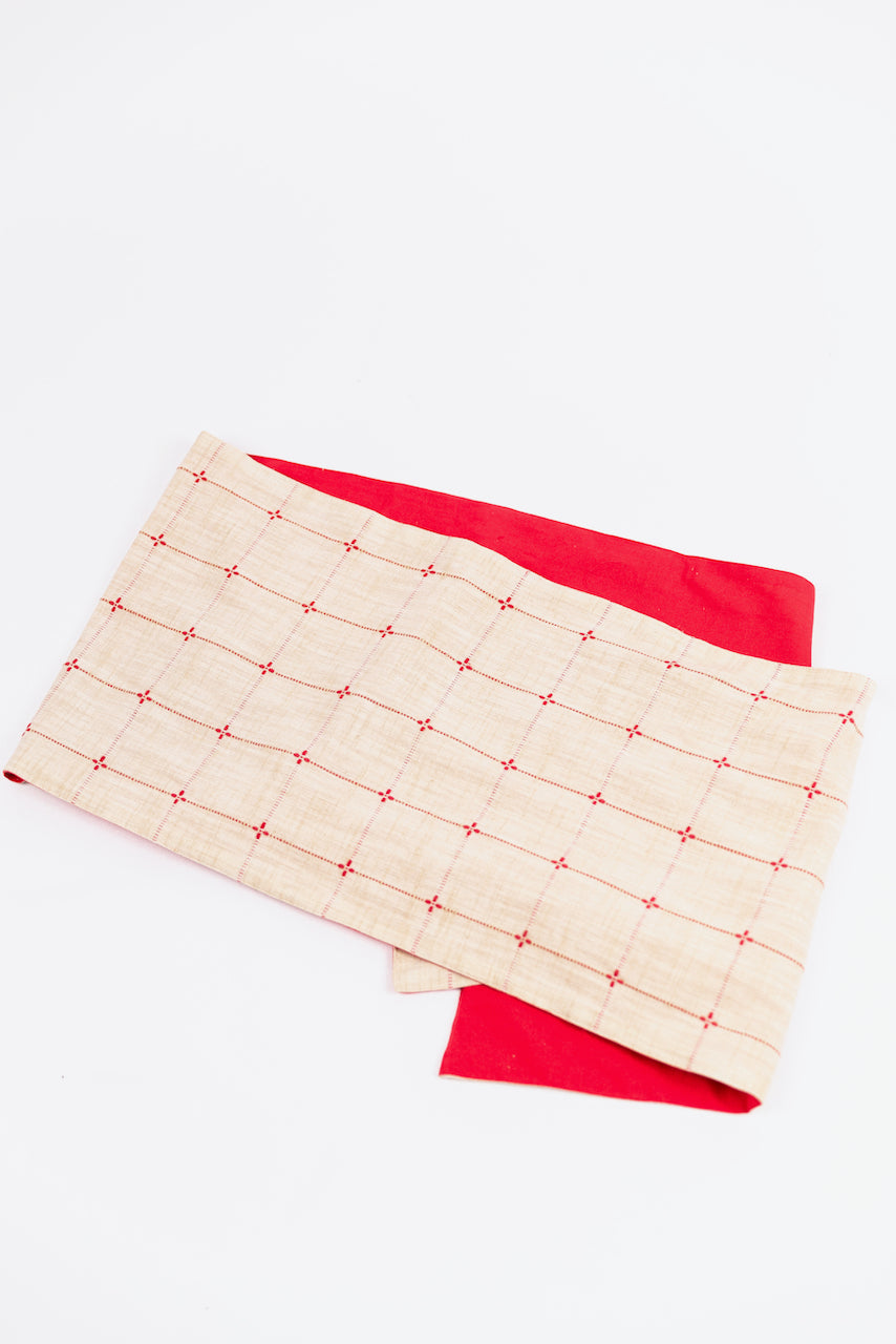 Red and Neutral Plaid Table Runner | ROOLEE