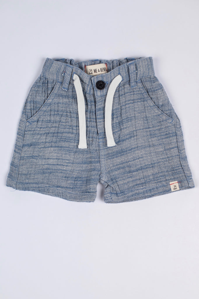 Blue Woven Tie Shorts | ROOLEE