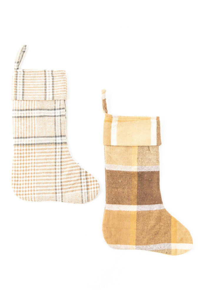 Yellow plaid stocking set | ROOLEE