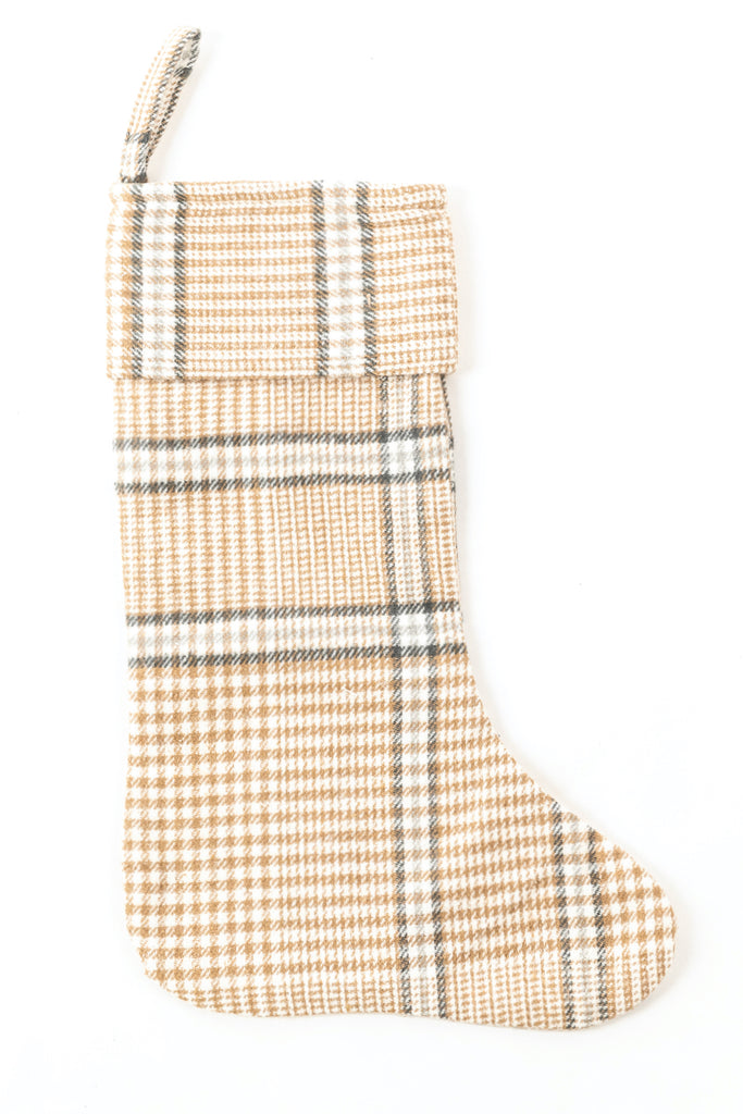 Gold plaid mantel stocking | ROOLEE