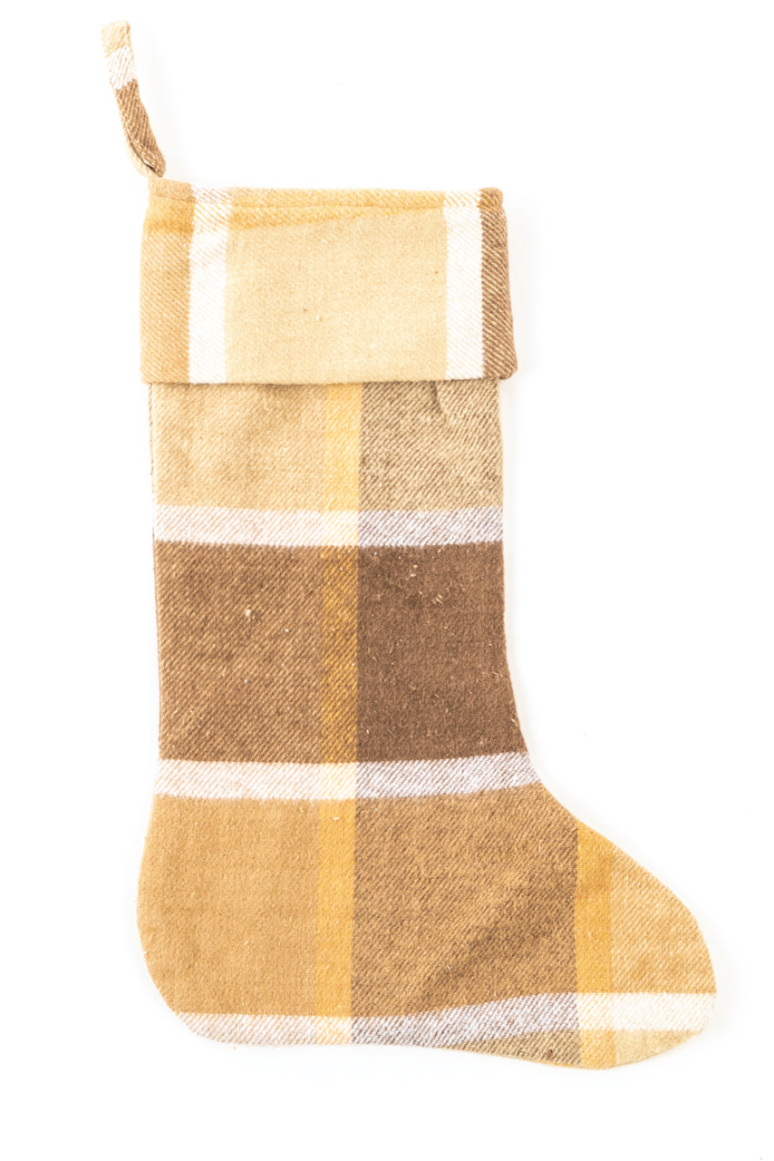 Yellow buffalo plaid christmas stocking | ROOLEE