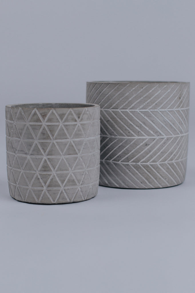 Small Cement Patterned Plant Holder | ROOLEE