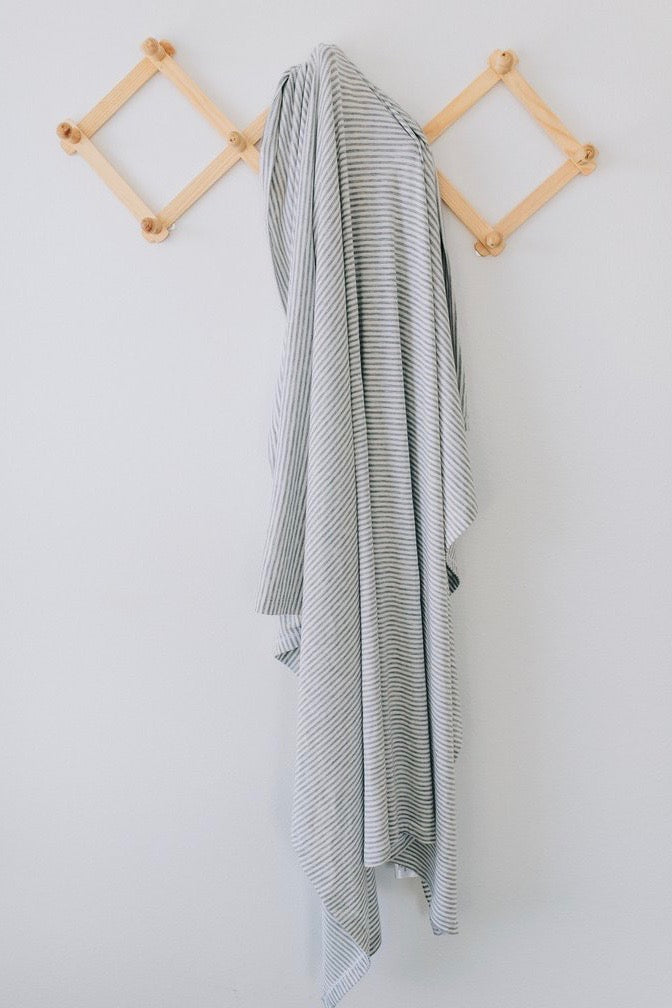 Grey Stripe Baby Blanket | ROOLEE