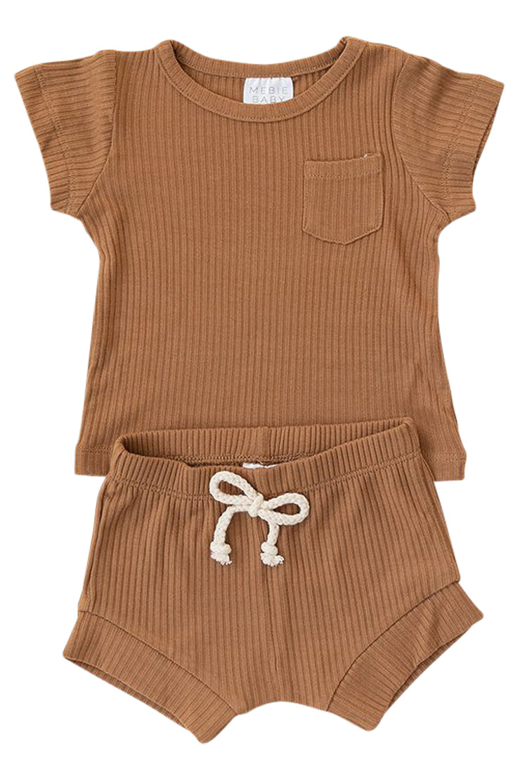 Copper ribbed boys two piece outfit | ROOLEE