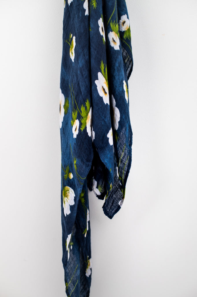 Cozy Blue Floral Swaddle | ROOLEE