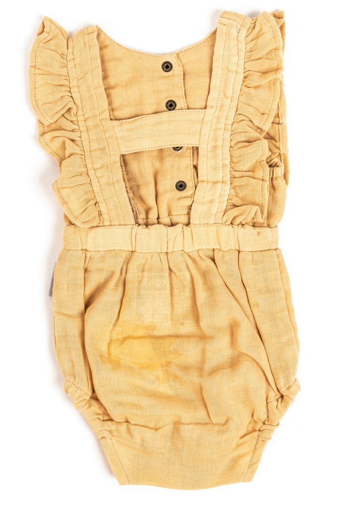 Yellow ruffle sleeve spring onesies for baby | ROOLEE