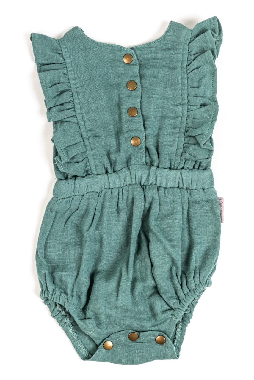 Teal button up baby ruffle onesie | ROOLEE