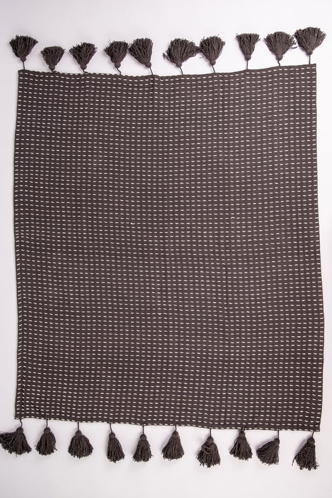 Hand Woven Throw Blanket Grey | ROOLEE