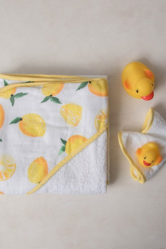 Hooded Towel Set - Lemons