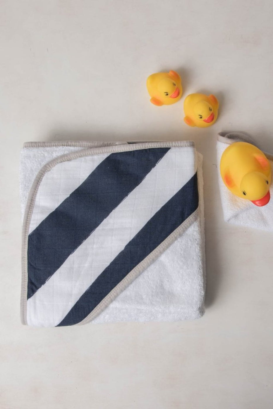 Hooded Towel Set - Navy Stripe