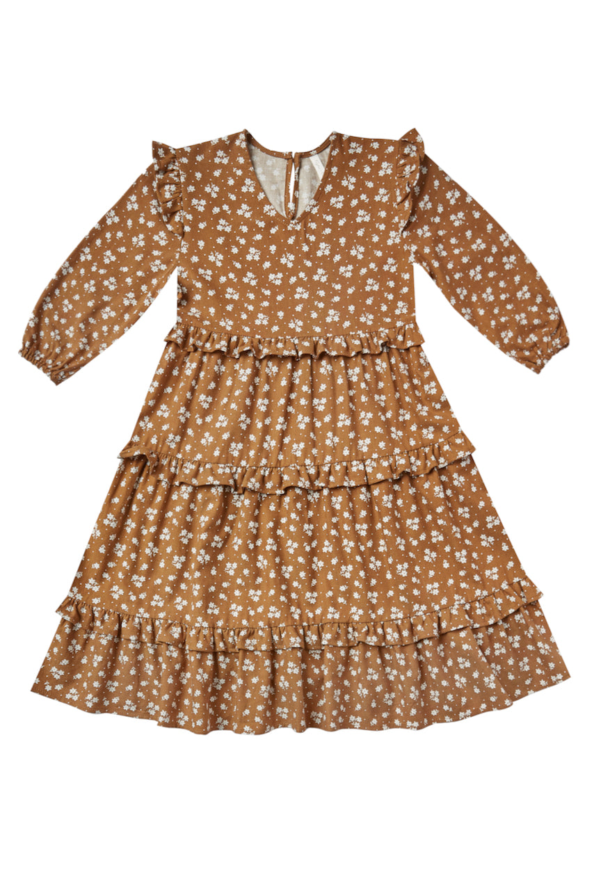 Floral ruffle sleeve dress in camel | ROOLEE