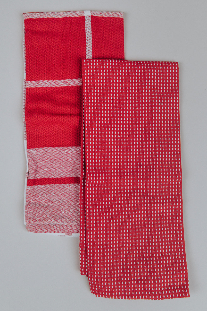 Red and White Stripe Kitchen Towels | ROOLEE