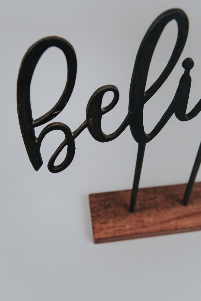 Believe Cast Iron Decor