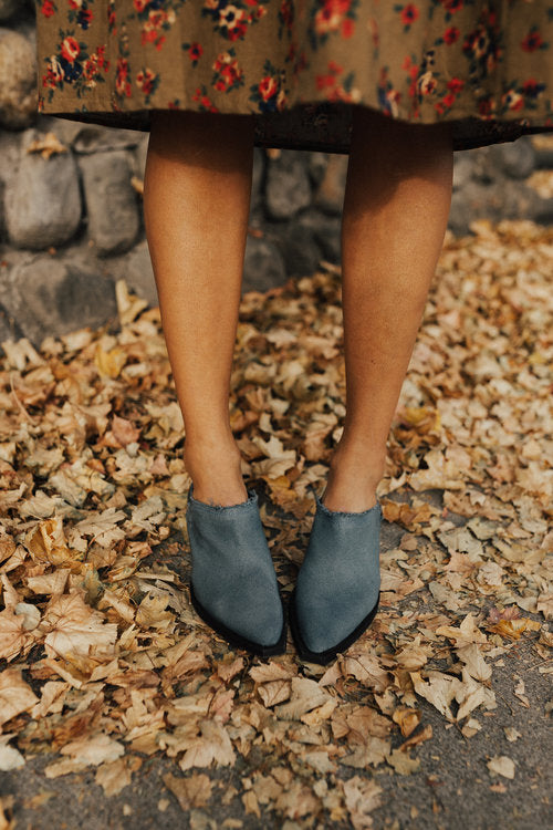 Blue Canvas + Leather Slip On Booties | ROOLEE