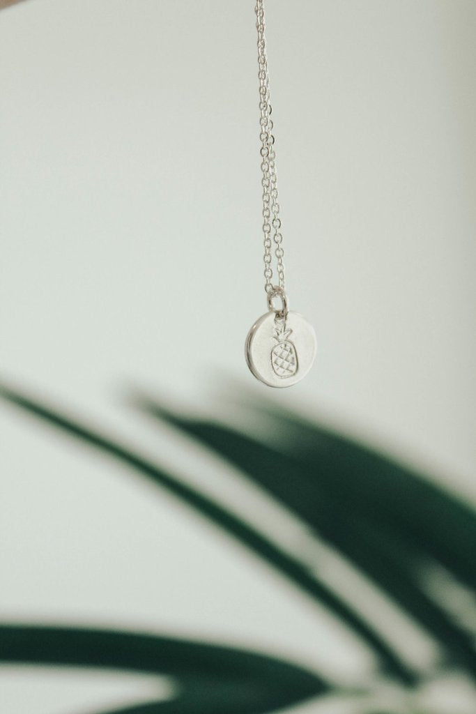 Pineapple Disc Necklace in Silver | ROOLEE