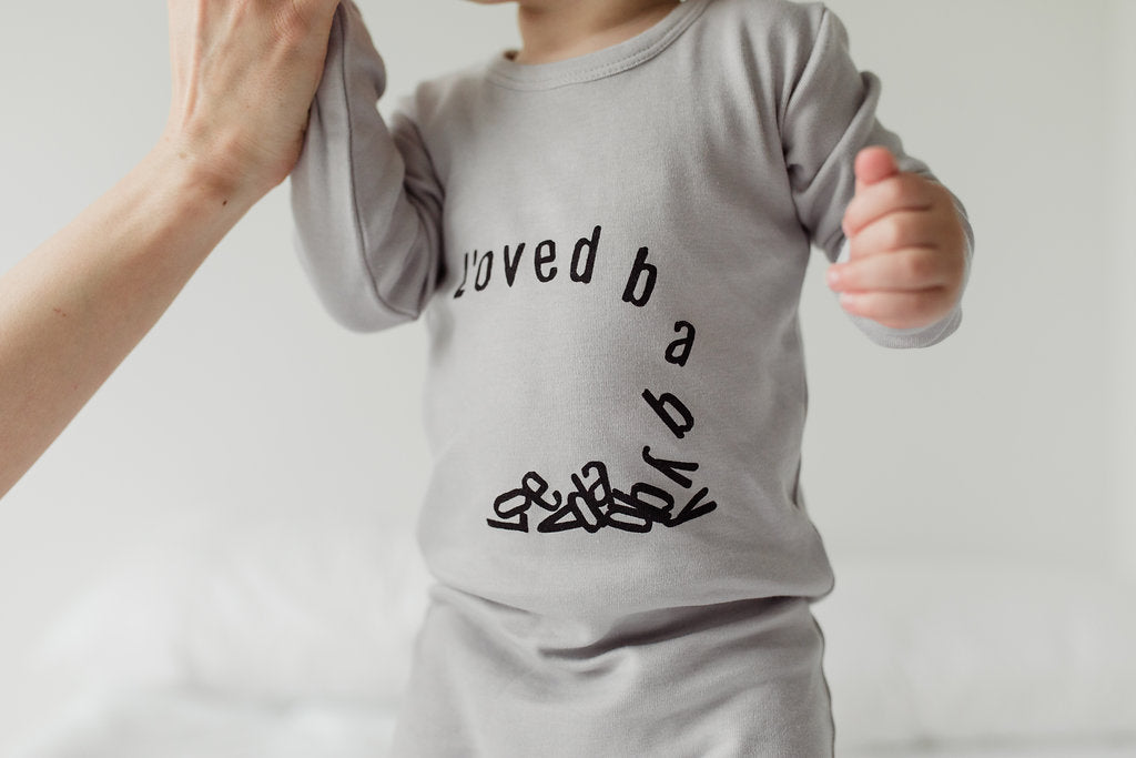 Loved Baby Graphic Print Minimalist Baby Footie | ROOLEE