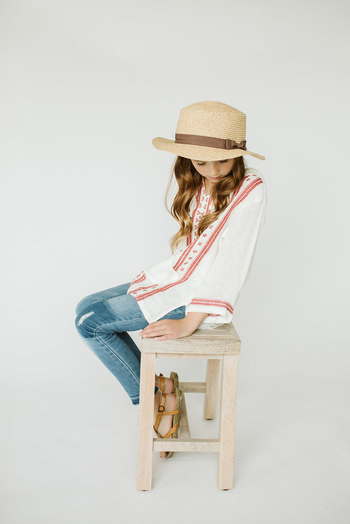 White Tunic w/Red Geometric Embroidery | ROOLEE
