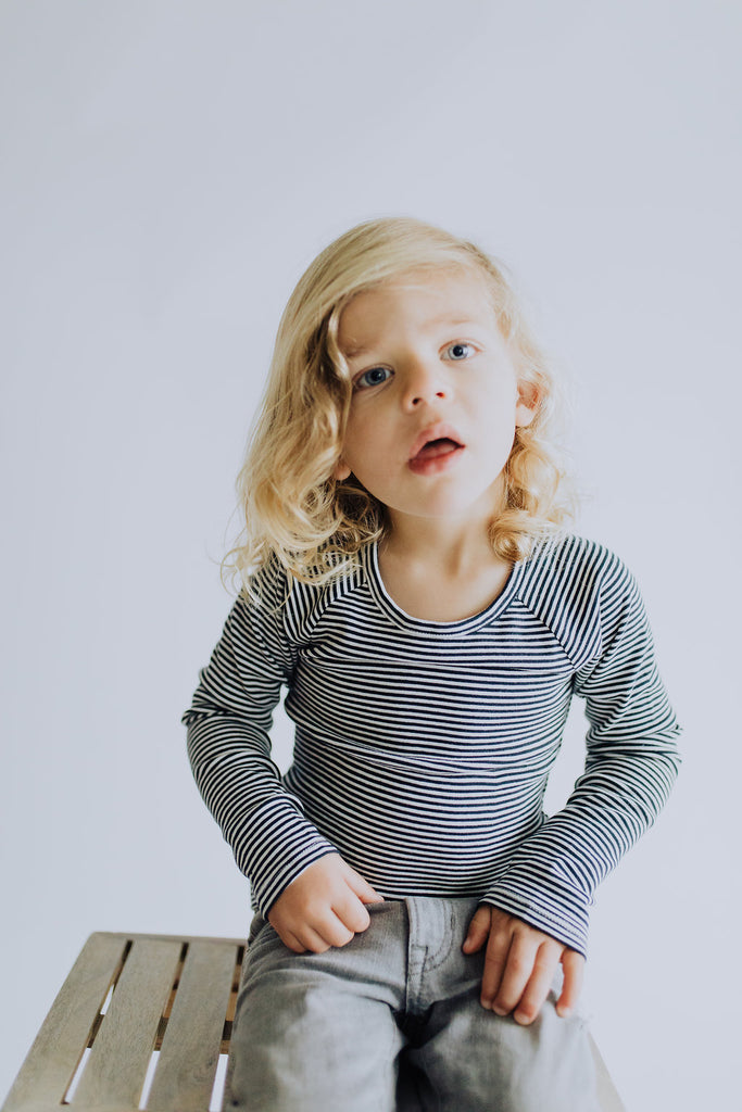 Matthew Stripe Top in Blue | ROOLEE Kids