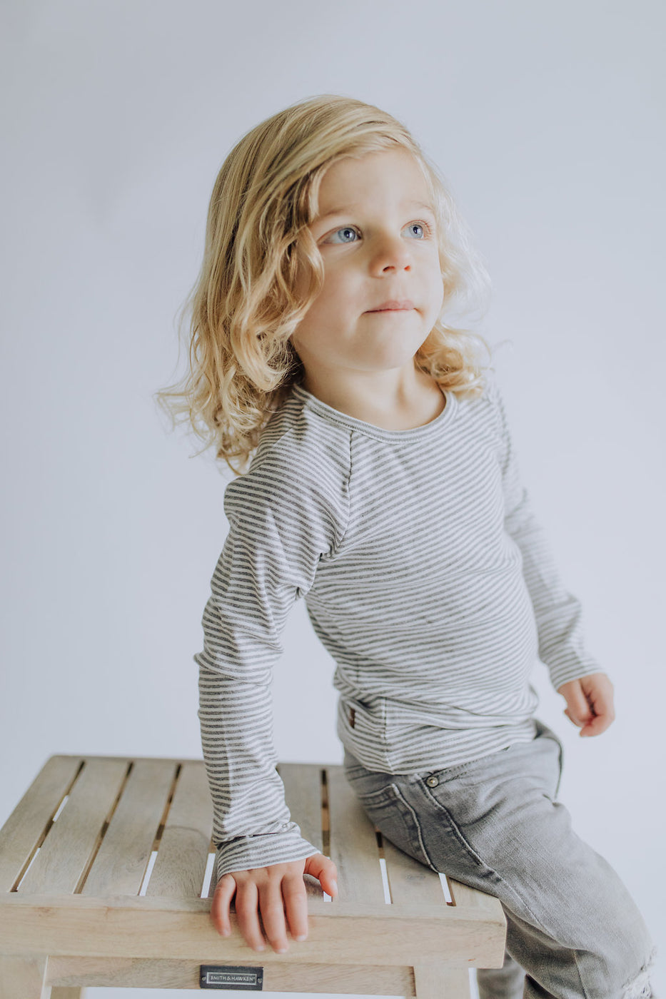 Matthew Stripe Top in Grey | ROOLEE Kids