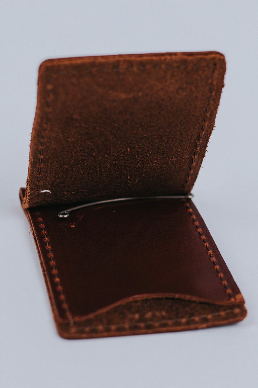 Machine Sewn Money Clip Leather Wallet | ROOLEE