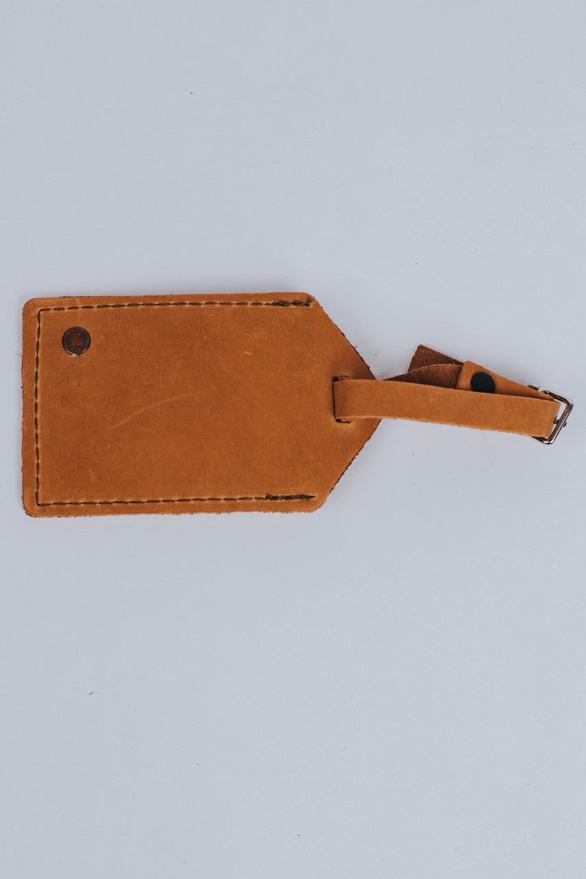 Hand Sewn Leather Luggage Tag in Saddle | ROOLEE Gifts