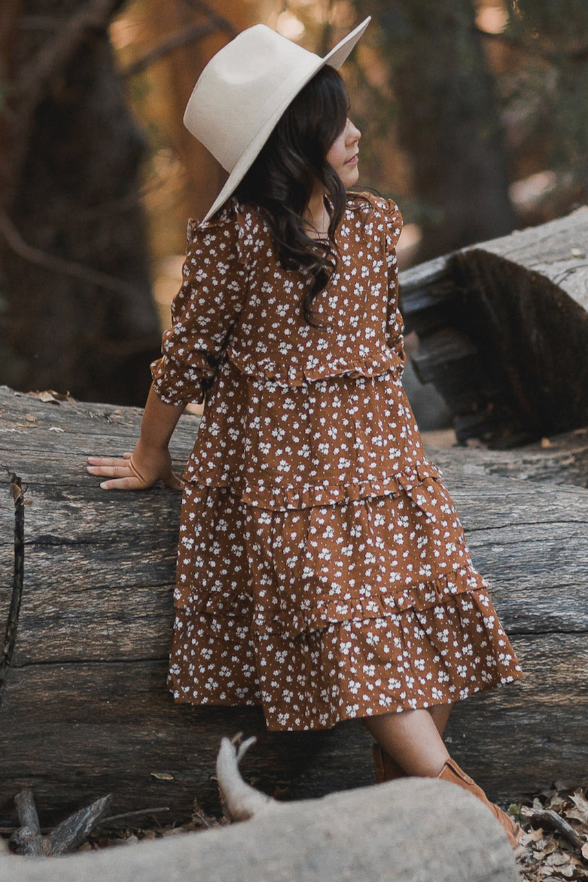 Brown long sleeve sunday girls dress | ROOLEE