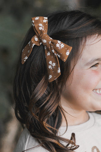 Brown floral hair bow | ROOLEE