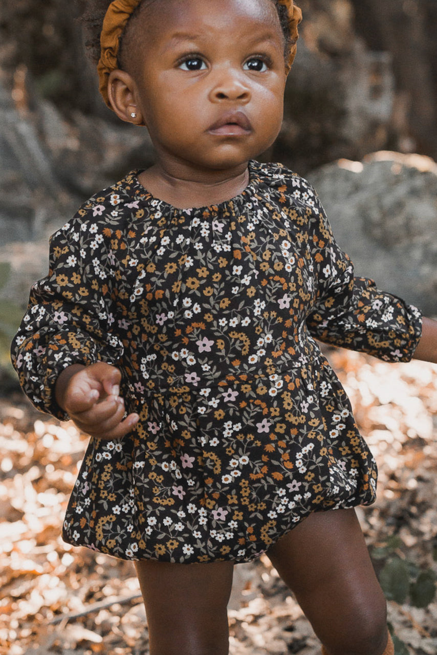 Black and mustard baby floral onesie | ROOLEE