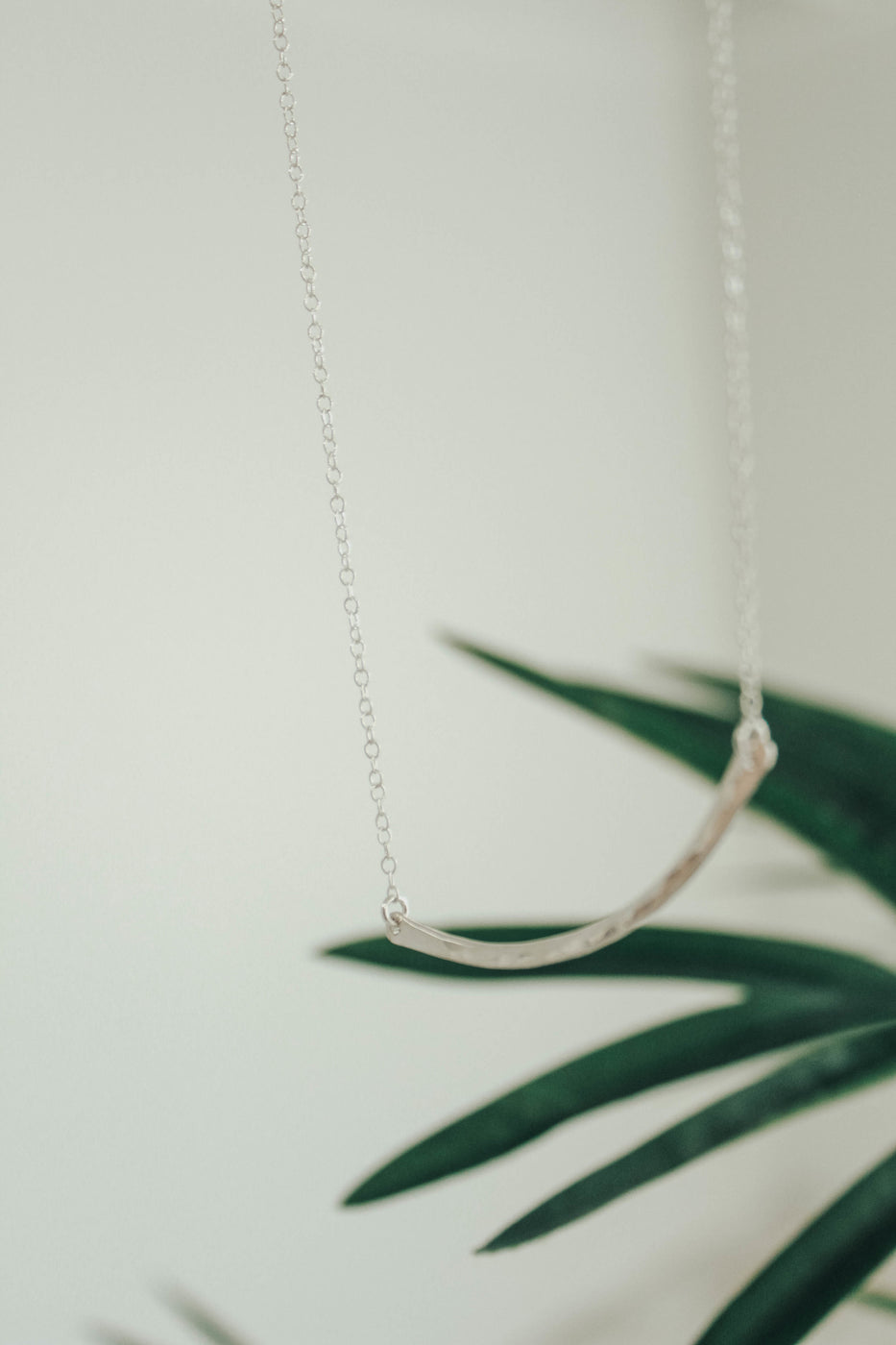Hammered Crescent Necklace in Silver | ROOLEE