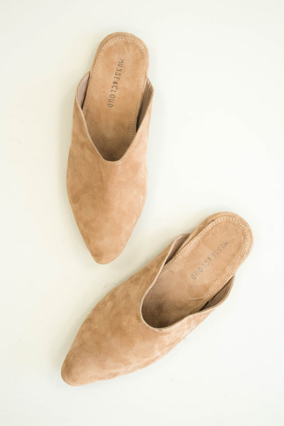 Tan Unique Mule with Pointed Toe | ROOLEE