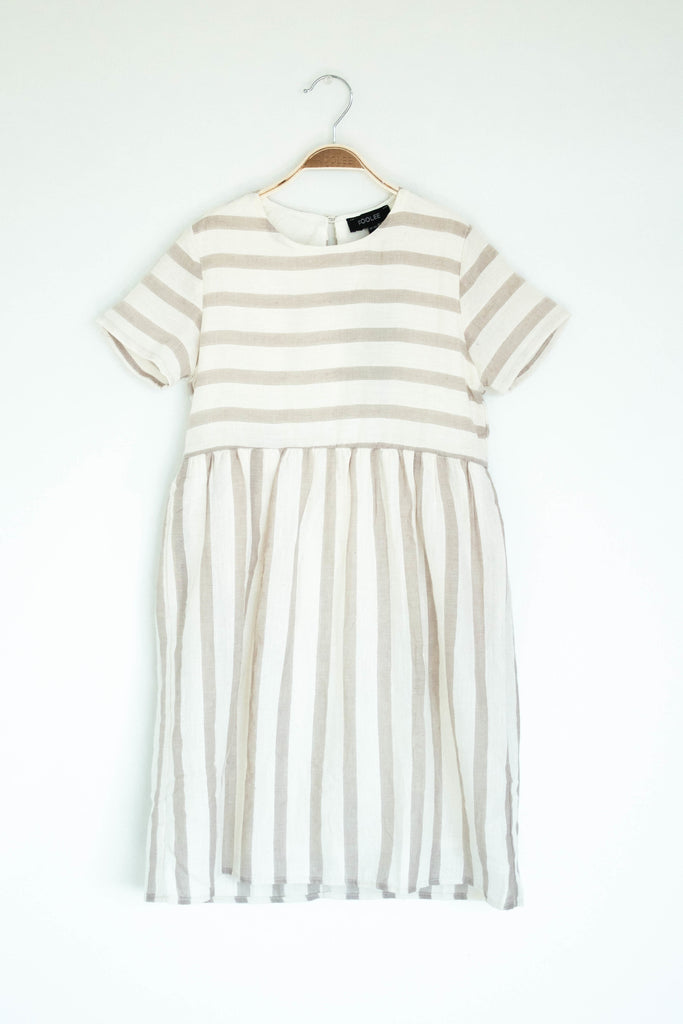 Simple Stripe Dress in Taupe | ROOLEE Kids