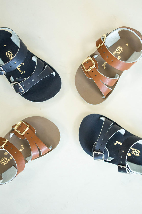 Tan + Navy Leather Sandals For Babies | ROOLEE Kids
