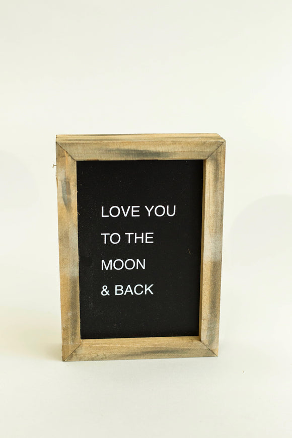 'To The Moon' Mini Framed Wooden Sign