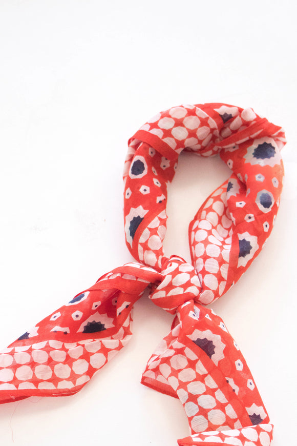 Gemstone Print Bandana in Red | ROOLEE