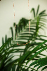 Hammered Crescent Necklace in Rose Gold | ROOLEE